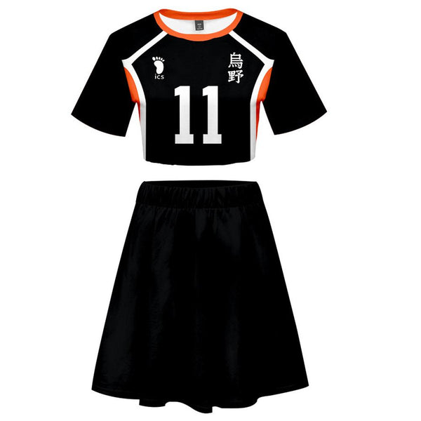 Women Haikyuu!! Tsukishima Kei 2 Pieces Cosplay Outfits Short Sleeves Crop Top + A Line Skirt Sets