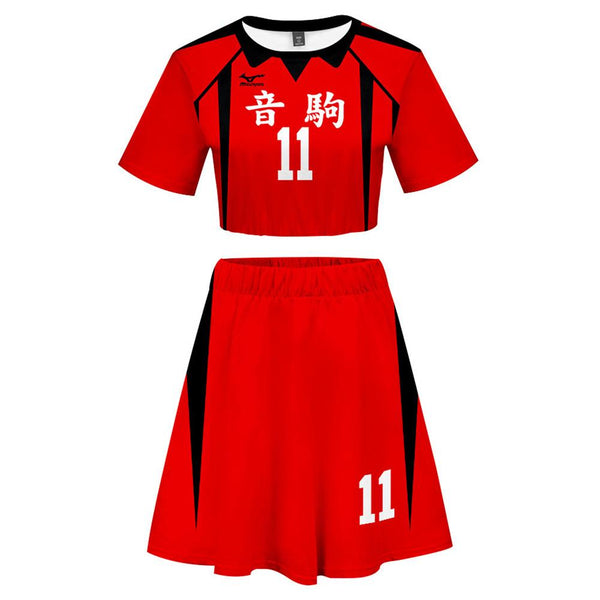 Women Haikyuu!! Lev Haiba 2 Pieces Cosplay Outfits Short Sleeves Crop Top + A Line Skirt Sets
