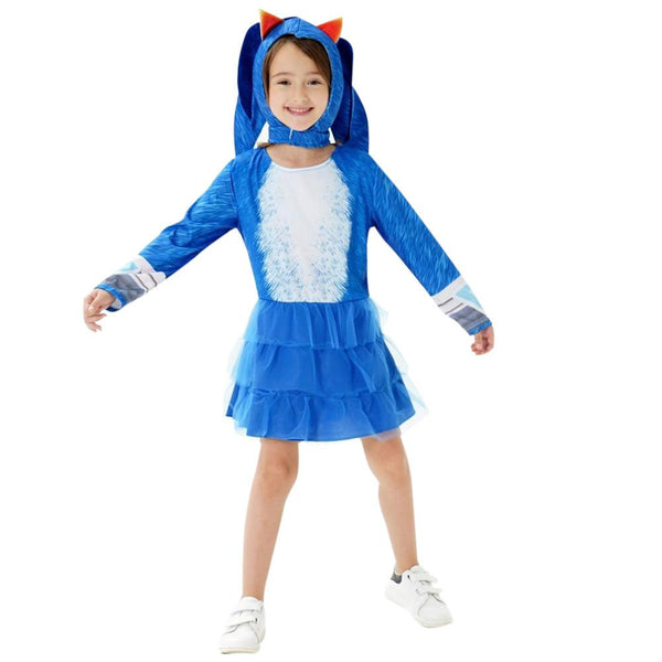 Kids Girls Sonic the Hedgehog Cosplay Dress Halloween Costume Party Holiday Clothing