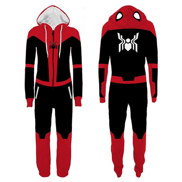 Unisex Halloween Spider-Man Pajamas Black Red Cartoon Onesie Hooded Pajamas Cosplay Costume