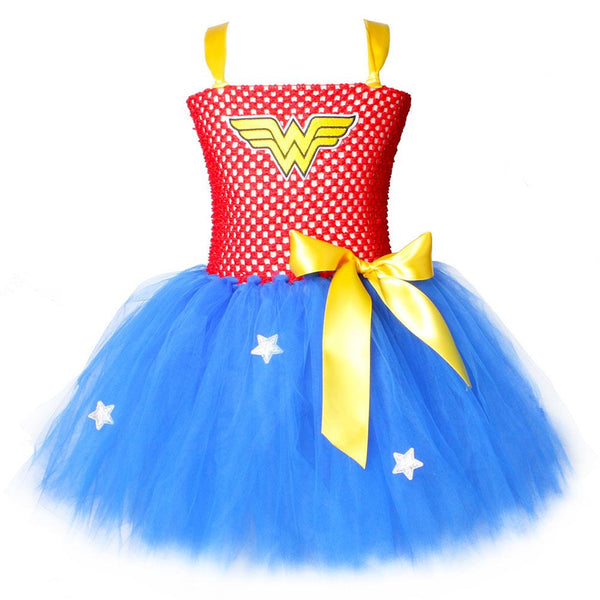 Kids Girls Halloween Role Play Costume Knee Length Wonder Woman Carnival Princess Tutu Dress