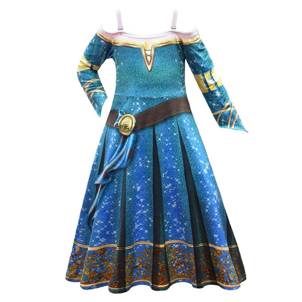 Kids Girls Movie Brave Merida Cosplay Dress Halloween Carnival Costume Dress Up