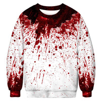 Unisex Halloween Casual Bloody Wound 3D Print Long Sleeve Bloodstain Sweatshirt Pullover Top