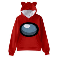 Kids Among Us Cat Ear Drawstring Hoodies Cosplay Pullover 3D Print Sweatshirt