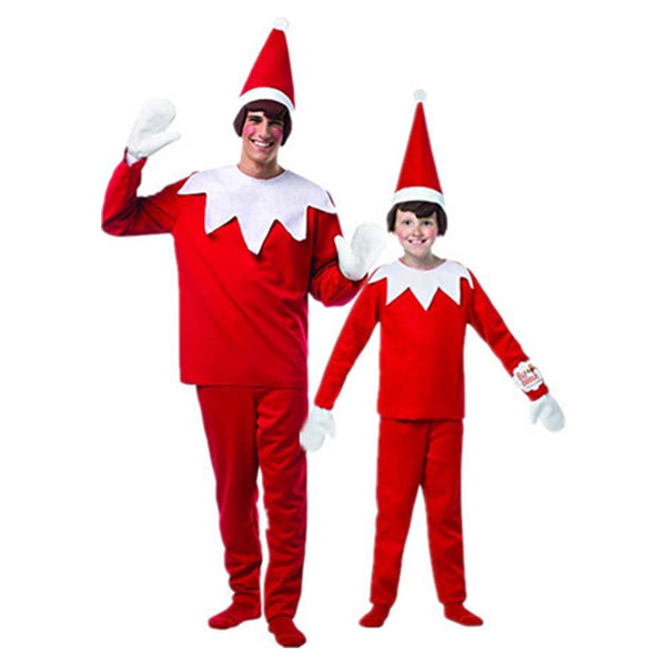 Family Christmas Costume Elf On A Shelf Costume Adult Kids Elf Costume Red New Year Cosplay Costume