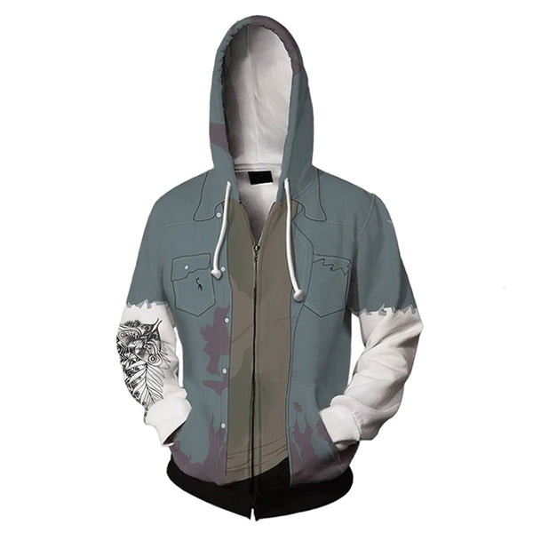 Unisex Ellie Cosplay Hoodies The Last of Us Part II Zip Up 3D Print Jacket Sweatshirt