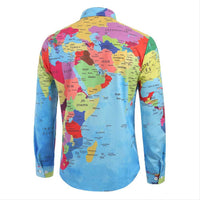 Mens Brief World Map 3D Print Long Sleeve Turn-Down Collar T-Shirt Top Blouse Mens Tank Tops