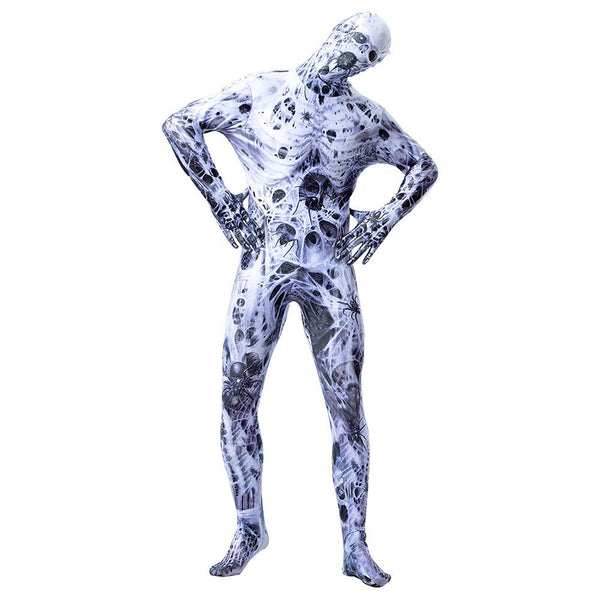 Halloween Adult Men Full Body Lycra Spandex Spider Net Horror Zentai Suit Costumes