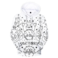 Unisex GINTAMA Hoodies 3D Print Pullover Sweatshirt Outfit Sakata Gintoki Printed Cosplay Casual Outerwear