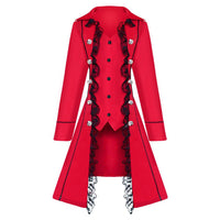 Lady Women Steampunk Victorian Gothic Coat Jacket Lace Medieval Maxi Long Dress