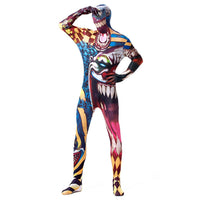 Halloween Adult Men Full Body Lycra Spandex Horror Clown Zentai Suit Cosplay Costumes