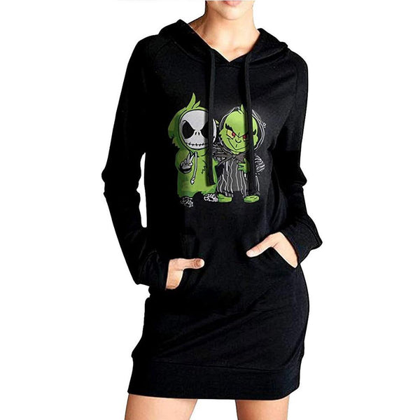 Women How the Grinch Stole Christmas Cosplay Hoodies Grinch Printed Pullover 3D Print Long Sweatshirt