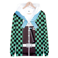 Unisex Demon Slayer Hoodies 3D Print Zip Up Sweatshirt Outfit Kamado Tanjirou Cosplay Casual Outerwear