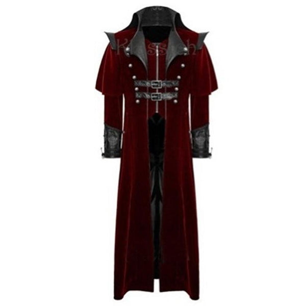 Men Retro Gothic Coat Tailcoat Vintage Steampunk Long Coats Royal Style Vampire Cosplay Costume