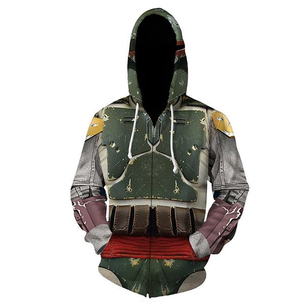 Unisex Star Wars Hoodies 3D Print Zip Up Sweatshirt Outfit Boba Fett Cosplay Casual Outerwear
