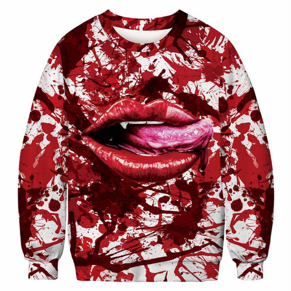 Unisex Halloween Casual Bloody Mouth 3D Print Long Sleeve Bloodstain Sweatshirt Pullover Top