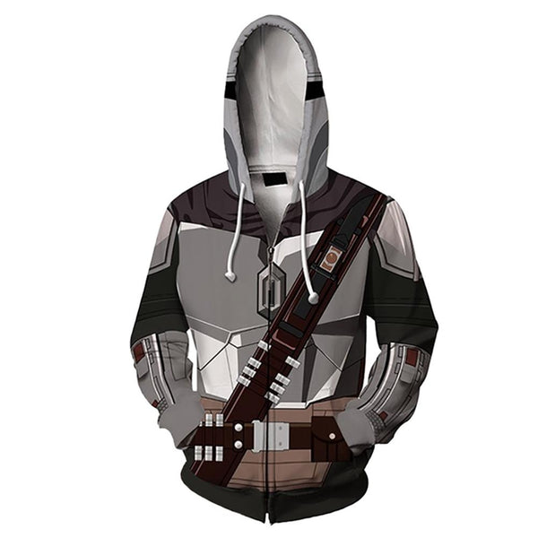 Unisex Star Wars The Mandalorian Cosplay Hoodies 3D Print Zip Up Jacket Sweatshirt