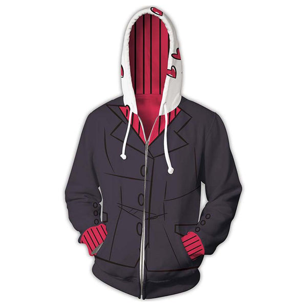 Unisex Modeus Cosplay Hoodies Game Helltaker Zip Up 3D Print Jacket Sweatshirt