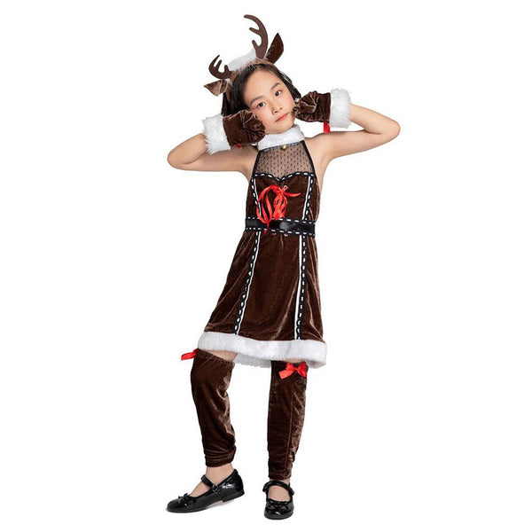 Kids Girls Christmas Deer Dress Christmas Deer Cosplay Costume Funny Animal Costume