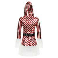 Women Christmas Hooded Striped Skirt Santa Costume Sexy Performance Costume