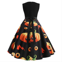 Women Sleeveless Dress Elegant Vintage Black Party Midi Dress Fiesta Halloween Christmas Retro Dress