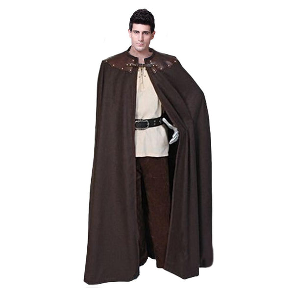 Adult Men England Queen Prince Costume Medieval Knight Maxi Cloak Cape Warrior Viking Cos Robe