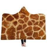 Hooded Throw Wrap Ultra Soft Coral Plush Animal Prints Leisure Wearable Warm Cozy Blanket
