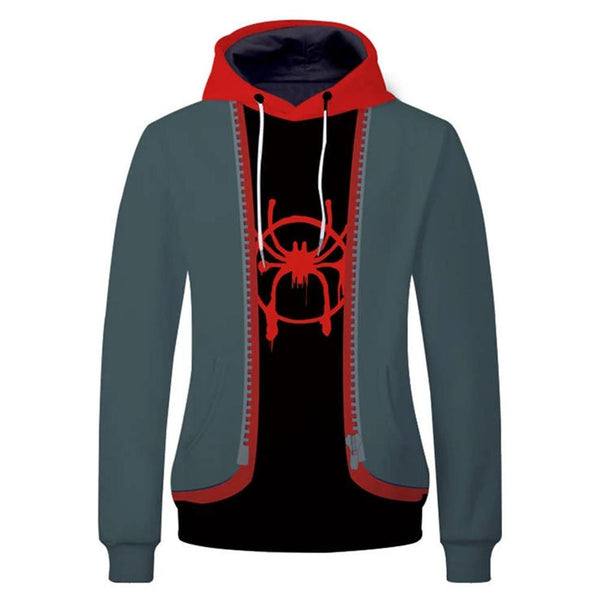 Unisex Spider-Man: Into the Spider-Verse Hoodies 3D Print Pullover Sweatshirt Miles Morales Cosplay Casual Outerwear