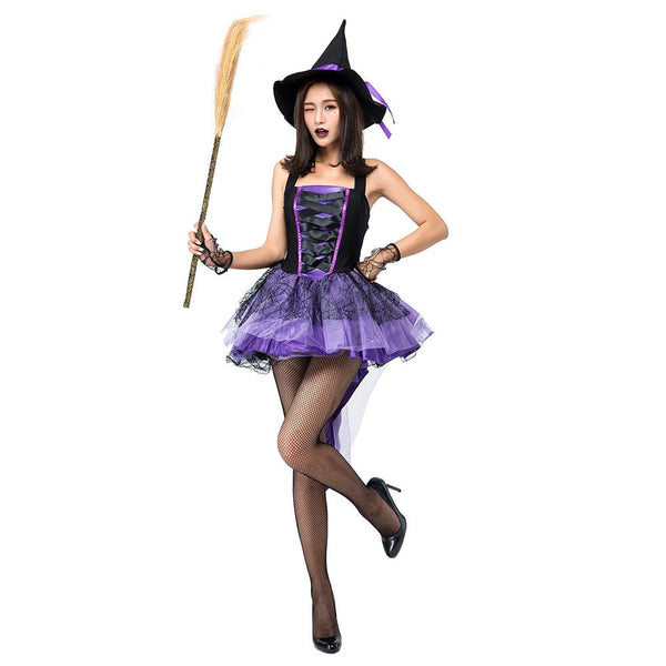 Women Purple Swallowtail Witch Halloween Cosplay Costume Party Masquerade Dress Clothing
