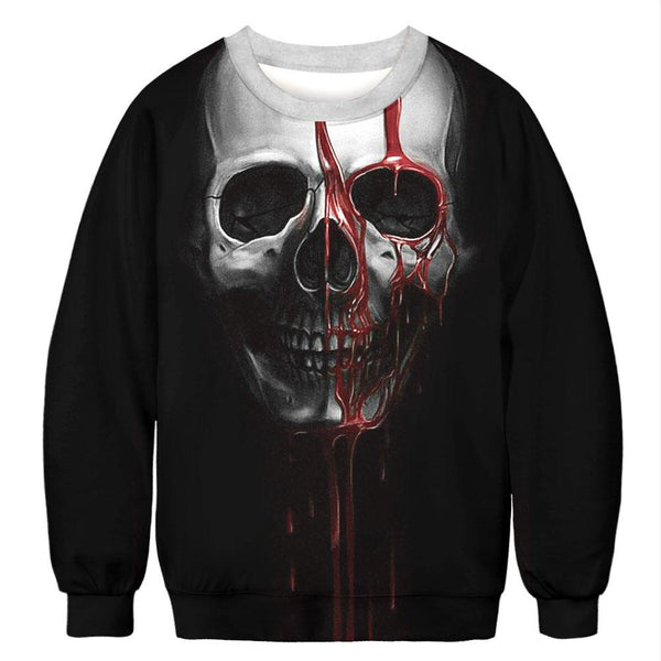 Unisex Halloween Casual Bloody Skull 3D Print Long Sleeve Novetly Sweatshirt Pullover Top
