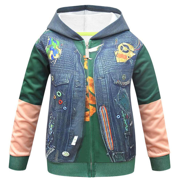 Kids Z-O-M-B-I-E-S ZOMBIES 2 Hoodies 3D Print Zip Up Sweatshirt Outfit Bonzo Cosplay Casual Outerwear