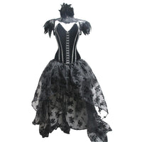 Women Halloween Dress Cold Shoulder Vintage Lace Up Gothic Medieval Dress Costume Cosplay Dress