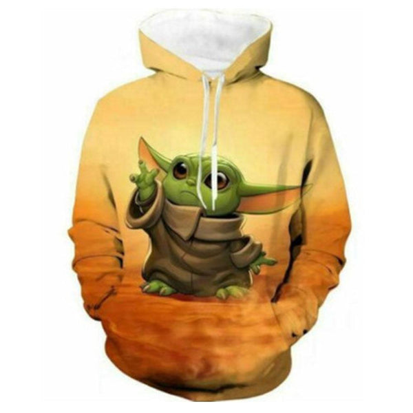 Unisex The Mandalorian Hoodies Baby Yoda Printed Star Wars Pullover Jacket Sweatshirt