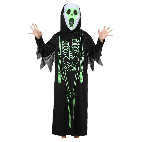 Kids Halloween Luminous Skeleton Fancy Dress Costume Party Scary Costumes Robe Cape Cloak
