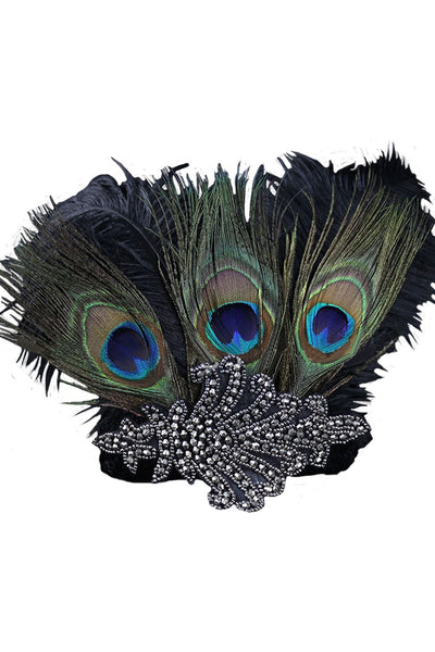 Women 1920s Flapper Peacock Feather Headband 20s Sequined Showgirl Headpiece