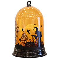 Battery Operated Halloween LED Pumpkin Candle Witch Cat Flame Scary Holiday Decor Light