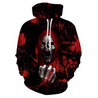 Kids Black and Red Skull Printed Hoodies Sweatshirts Fashion Casual Tracksuits Halloween Streetwear