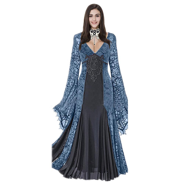 Women European and American Lace Stitching Retro Big Trumpet Sleeves Medieval Court Evening Dress