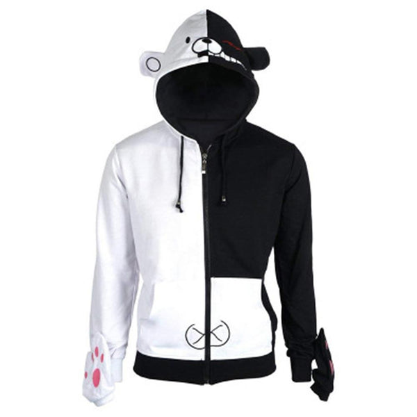 Unisex Danganronpa Hoodies Monokuma Cosplay Long Sleeve Zip Up Sportswear Casual Thin Sweatshirt