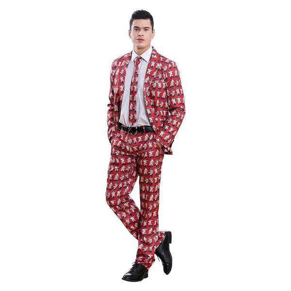 Men's Ugly Christmas Suit Funny Elf Santa Snowman Dancing Party Costume