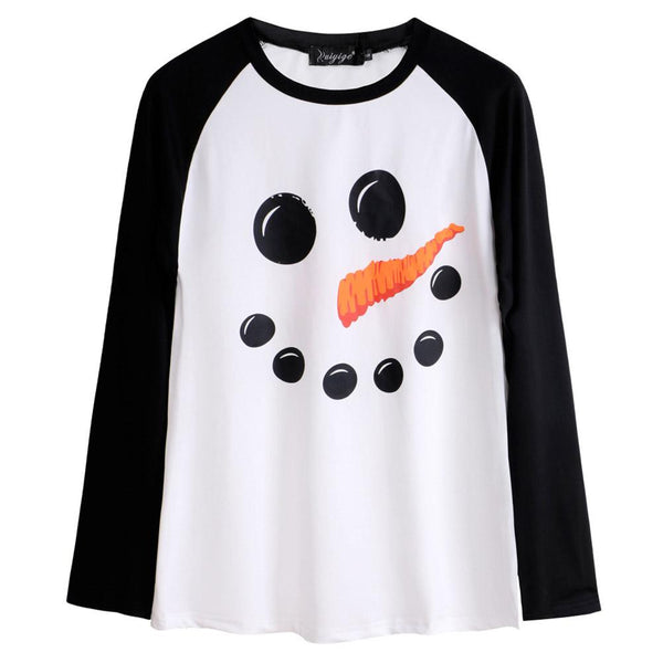 Women Snowman Face White Sweater Long Sleeve Cute Ugly Christmas Sweater