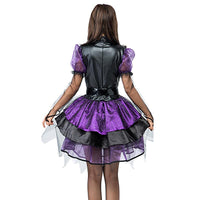 Women Gorgeous Amethyst Pentagram Neckline Witch Costume Purple Sequin Dress Halloween Classic Witches Costumes Cosplay