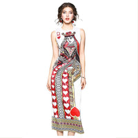 Women Bodycon Long Maxi Dress Summer Sleeveless O Neck Poker Queen Printed Dresses Clothing
