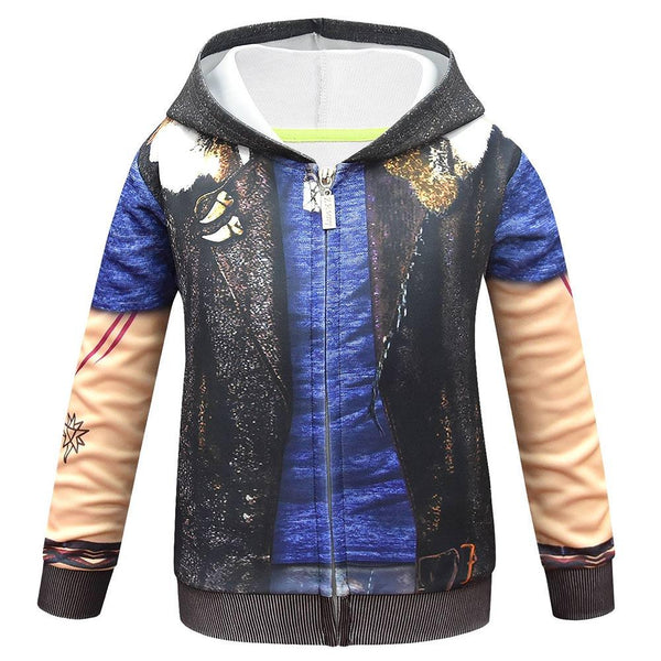 Kids Z-O-M-B-I-E-S ZOMBIES 2 Hoodies 3D Print Zip Up Sweatshirt Outfit Wyatt Cosplay Casual Outerwear