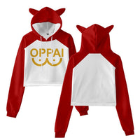 Women ONE PUNCH-MAN Cat Ear Drawstring Hoodies Saitama Cosplay Pullover Crop Tops