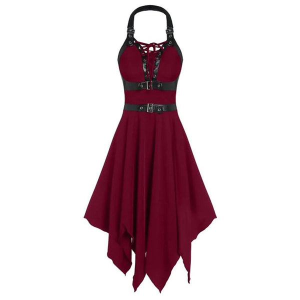 Women Gothic Party Dress Summer Sleeveless A-Line Sexy Punk Top Dress Faux Leather Strap Lace-Up Dress