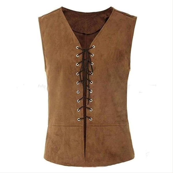 Men Casual Vest Stylish Sleeveless V-Neck Lace-up Front Renaissance Costume Vest Tops Summer Suit