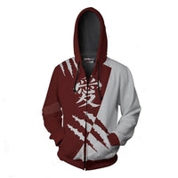 Unisex Naruto Gaara Cosplay Hoodies Men Women Zip Up Sportswear Tracksuit Casual Thin Sweatshirt