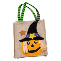 4 Packs Halloween Linen Bags Trick or Treat Gift Bags Party Goodie Tote Bags Treat Bag