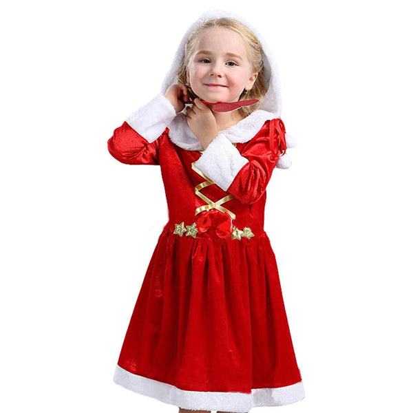Baby Girls New Year Christmas Dress Girls Merry Christmas Dress Kids Cotton Dress Girls Santa Clus Costume